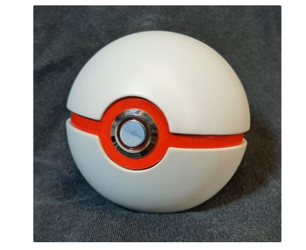 Pokeball weighted opening light up button by Ibuildrobots Thingiverse