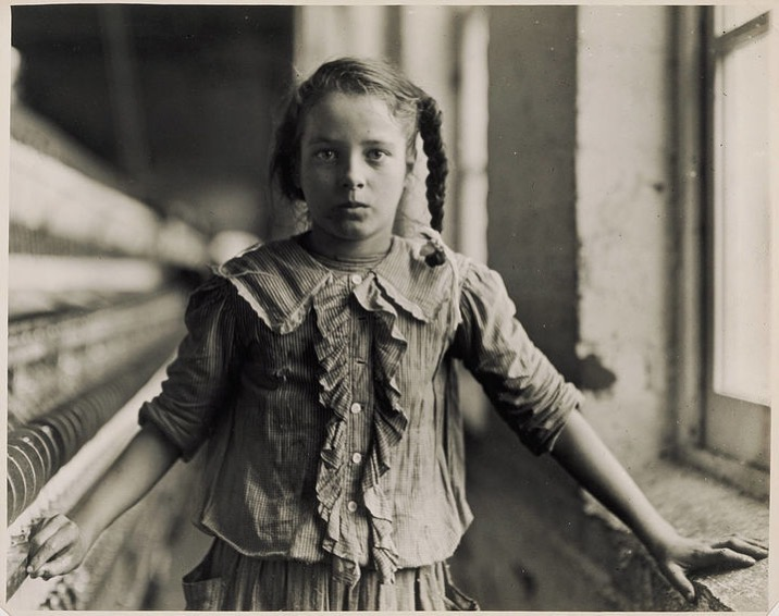 Hine lewis adolescent girl a spinner in a carolina cotton mill 1908 720